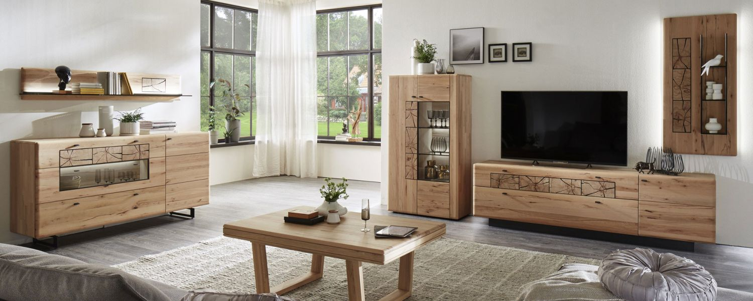 kvik wohnwand kernbuche massiv geb rstet m. Black Bedroom Furniture Sets. Home Design Ideas