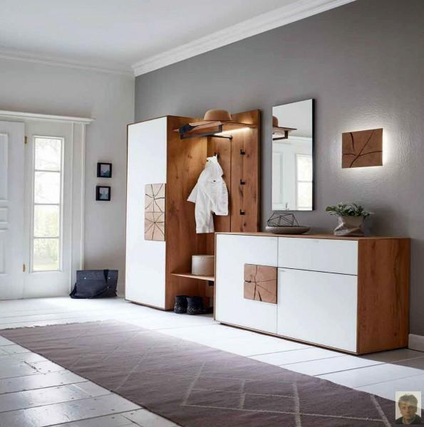 caya garderobe mit glasapplikation kerneiche umato. Black Bedroom Furniture Sets. Home Design Ideas