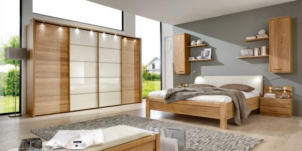 Toledo Schlafzimmer Eiche Teilmassiv mit Gleittürenschrank