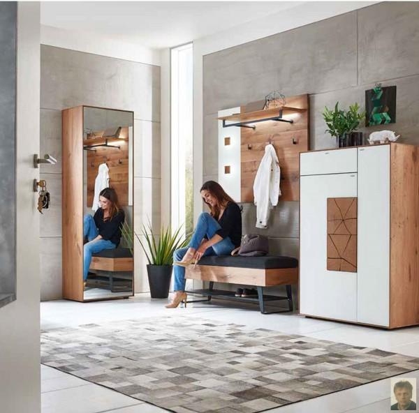 caya garderobe mit glasapplikation kerneiche umato geb rstet m. Black Bedroom Furniture Sets. Home Design Ideas